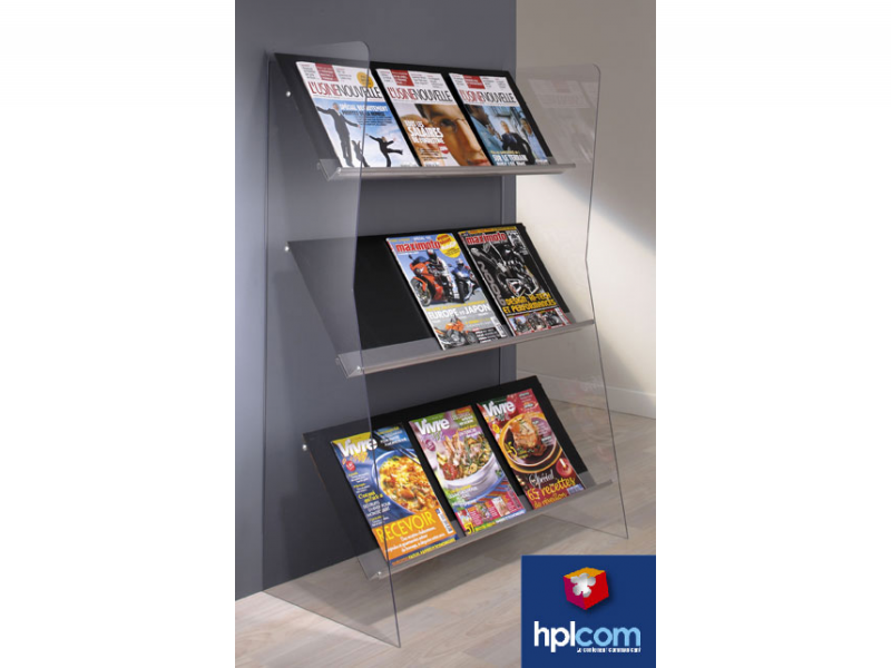 presentoir pour 9 brochures a4 plexi plv de sol plv de sol et de comptoir hpl com. Black Bedroom Furniture Sets. Home Design Ideas